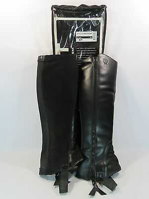 Ariat Stable Chaps Unisex Black Leather #9002  Size ST