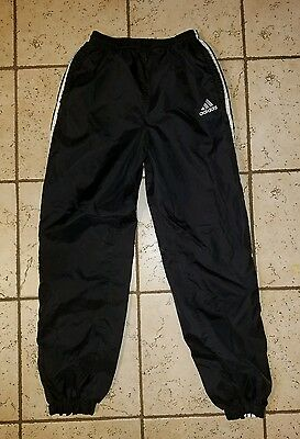 Youth Vintage Adidas black & white nylon sweat pants lined Sz XL (Womens Small)