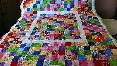 Girl Boy Handmade Handcrafted Pieced Framed Scrappy Squares Baby Lap Crib Quilt