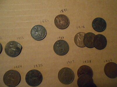 GREAT BRITAIN Farthing Collection 1886-1936 Lot of 30 Different Coins * NICE LOT