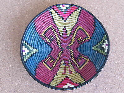 Wounaan Tribe Handwoven Plate/Basket Round Red Insect in Blue Gold Maze E.576
