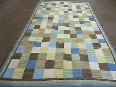 5'X 8' Hand knotted Kilim Dhurrie Wool Cotton Rug Flat Weave Carpet Checker Nice