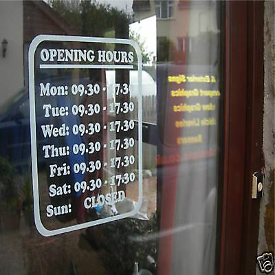 Retail Shop, Office or Restaurant Opening Times Graphic Door Window Transfer