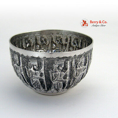 Figural Bowl 12 Marching Men Chased Figures 900 Silver 1900
