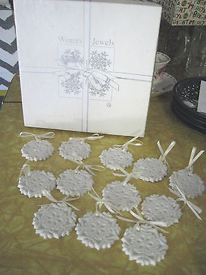 "12 Margaret Furlong Winter Jewels Snowflake Christmas Ornaments 1989 2"" Exc VTG"