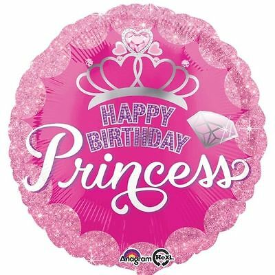 """Happy Birthday Princess Foil Balloon 18"""" Party Decorations Helium Air Pink Round"""
