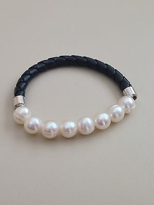 Honora Cultured Pearl 7.5 Mm Braided Leather Stretch Bracelet