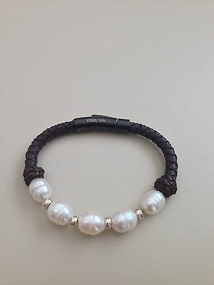Honora Cultured Pearl Braided Leather Bracelet 12 Mm