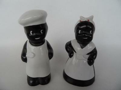 Vintage Black And White Mammy Salt & Pepper Shakers Figurines