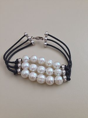 Honora Sterling Silver 3 Row Pearl  Leather Bracelet 8-10 Mm