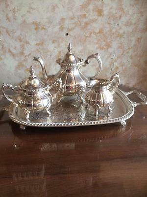 Fancy Vintage 4 Piece Best Quality Ranleigh Silver Plated Tea Set With Tray