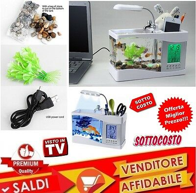 Mini Acquario Vasca Pesci Lcd Usb Led Fontana Orologio Datario Display Suono New