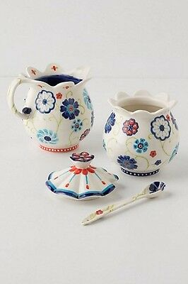 Anthropologie Garden Swirl Sugar Bowl With Spoon & Creamer Set Retired Sold Out