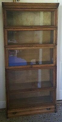 Antique Oak Six Section Stacking Barrister Lawyers Bookcase with Bottom Drawer