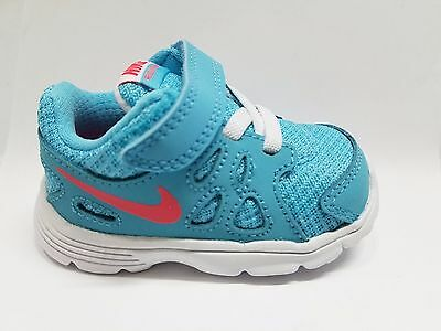 Nike Revolution 2 Girls  Baby Shoes LIGHT BLUE / RED New In Box