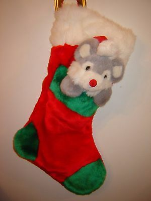 Stuffed Mouse in Pocket 18 Inch Plush Christmas Stocking - EUC