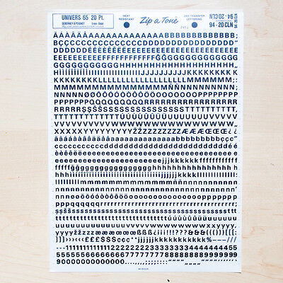 1 Sheet UNIVERS 65, 20pt Letraset L166 Rub on Letters Dry Transfers Lettering
