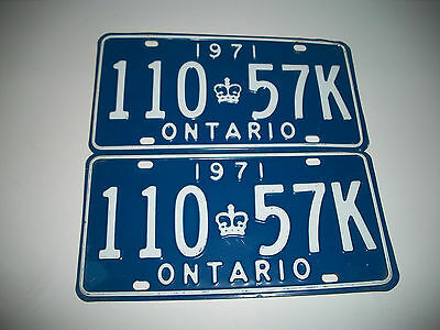 Pair Of Original 1971 Ontario Canada License Plates Clean # 11057K Very Clean