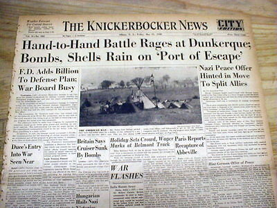 MIRACLE OF DUNKIRK France 1940 WW II hdlne newspaper Allied forces escape Nazis
