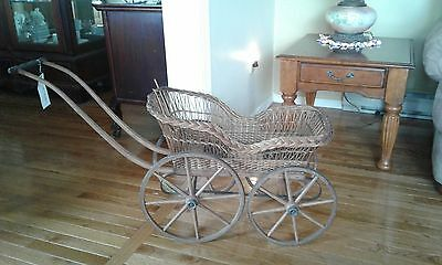"Antique Baby/Doll Carriage Victorian Wicker -""Flo Jeans"""