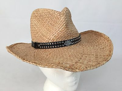 Harley Davidson Motorcycles Straw Woven Hat Studded Leather Band
