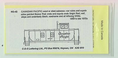CDS LETTERING - No. HO-42 - CANADIAN PACIFIC CABOOSE DECALS  - NOS