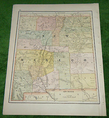 Rare 1890 Iliff's Imperial Atlas of the World Map New Mexico Yellowstone Park