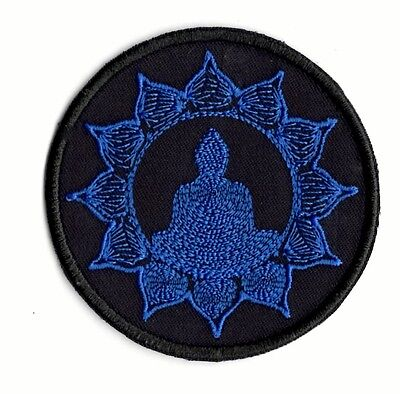 Yoga Meditation Zen Blue Buddha Style applique patch Iron or Sew on Patch