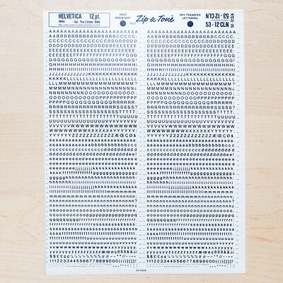 1 Sheet HELVETICA 12pt Letraset L166 Rub on Transfer Lettering Hand Type Fonts