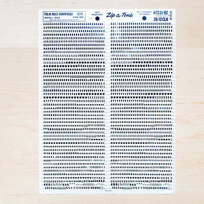 1 Sheet FOLIO 12pt Bold Condensed Letraset  L166 Rub on Letters Dry Transfers