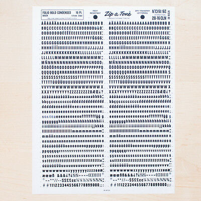 1 Sheet FOLIO 16pt Bold Condensed Letraset L166 Rub on Letters Dry Transfers