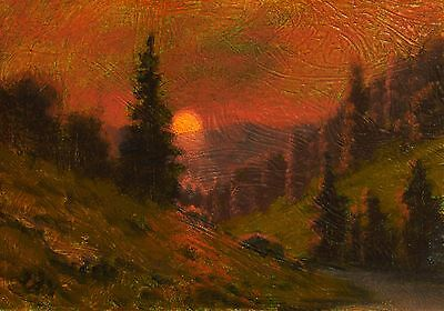 original oil painting landscape signed on canvas vintage antique style 0967 COLE