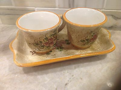 Italian Pottery Deruta Espresso Set with tray and 2 cups