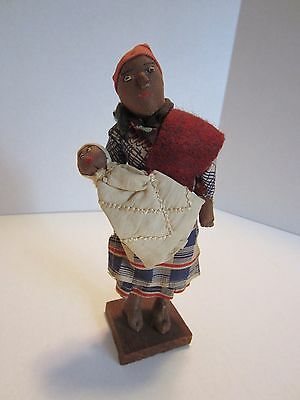 Vintage Hand Made MOTHER & CHILD  AFRICAN CLOTH DOLL on display stand