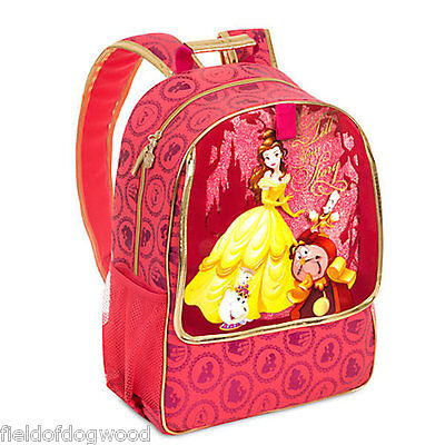 NWT Disney Store Belle Backpack School Book Bag Beauty and the Beast Red