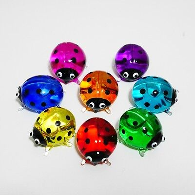 8 Ladybugs Set Figurine Animal Hand Paint Blown Glass Decorate Collectible Gift
