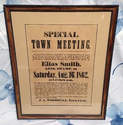 "Antique ""Special Town Meeting"" Paper Sign. Huntington Pa. 1862. Great Frame."