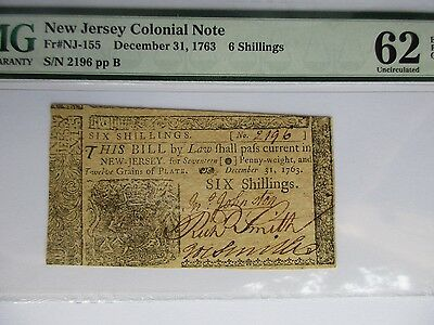Colonial Currency New Jersey, NJ-155 1763 6 sh, PMG 62 EPQ