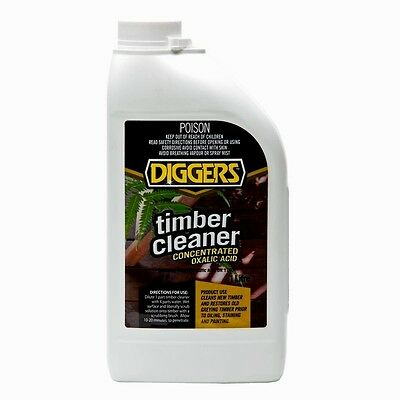 DIGGERS TIMBER CLEANER Concentrated Oxalic Acid - Cleans & Restores Timber 1LTR