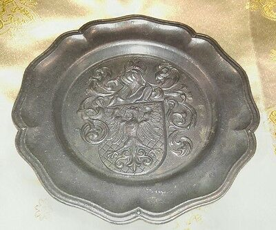 """Pewter Collector's Plate Crest And Shield Made In Spain 8 1/2"""""""