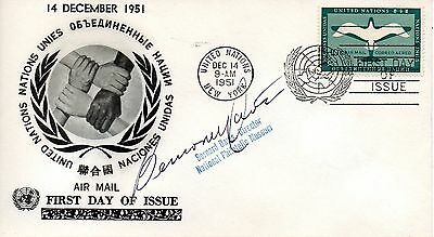 UN NY FDC #C2 Airmail, Signed By Diretor National Philatelic Museum (6946)