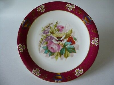 Antique Hand Painted Burgundy & Floral & Gold Trim Display Cabinet Plate