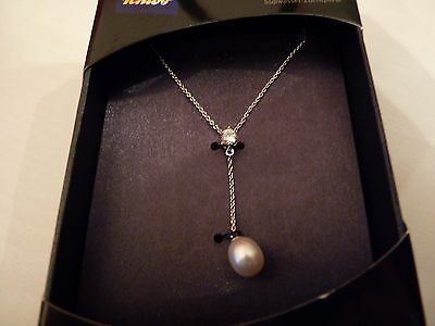 NEW Silver Necklace with Cultured Freshwater Pearl Pendant Valentines Gift
