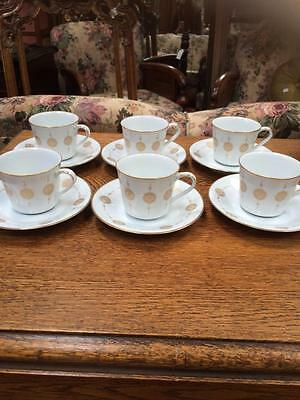6 X Vintage Noritake Sovreign 6808 Coffee Cups And Saucers Set Gold & White
