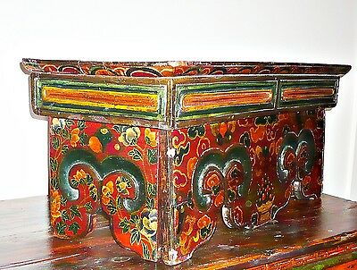 TIBETAN TABLE Folding Scripture Table Painted Altar 26x11x11 Early 1900s