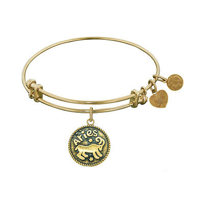 Antique Smooth Finish Brass Aries - March Angelica Bangle