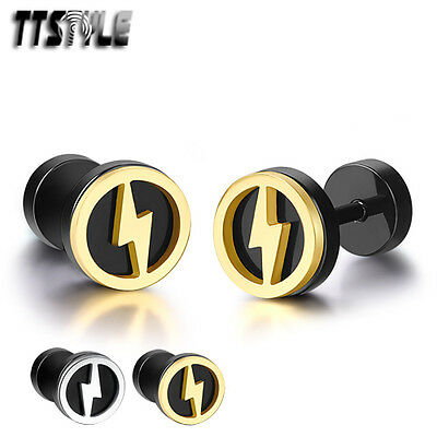 TTstyle 8mm Round Stainless Steel Lightning Fake Ear Plug Earrings Silver/Gold