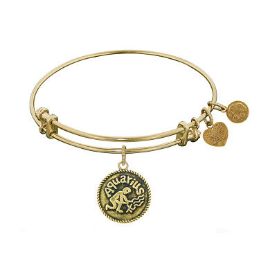 Antique Smooth Finish Brass Aquarius - January Angelica Bangle