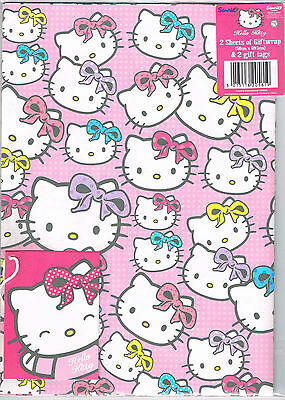 Hello Kitty Gift Wrap Birthday Party 2 Sheets Name Tags Paper Present Girls Pink