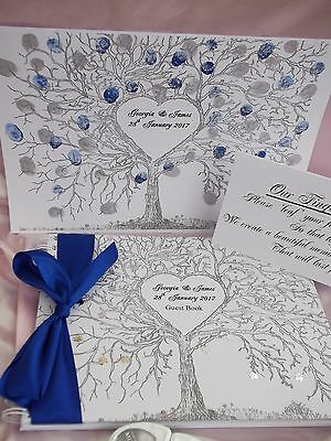 Wedding Fingerprint Tree With  Matching Personalised Wedding Guest Book ~ Boxed
